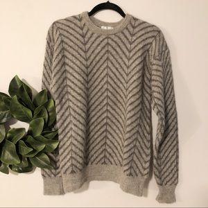 Neiman Marcus herringbone alpaca wool sweater sz S